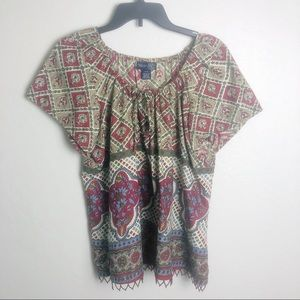 Venezia Boho Beaded Hem Peasant Top 14/16